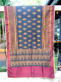 Silk Ikat Textile Wall Hanging Throw Black Gold