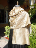 Thai Silk Pintuck Pleated Shawl Champagne