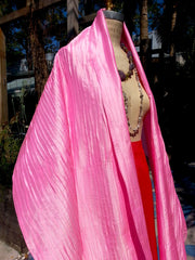 Thai Silk Pintuck Pleated Shawl Candy Pink