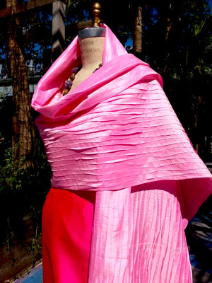 Thai Silk Pintuck Pleated Shawl Mustard