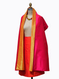 Double Sided Evening Shawl Fuchsia Tangerine