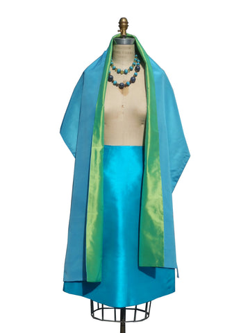 Double Sided Evening Shawl Baby Blue Peridot