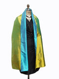 Double Sided Evening Shawl Bimini Blue Belize Green