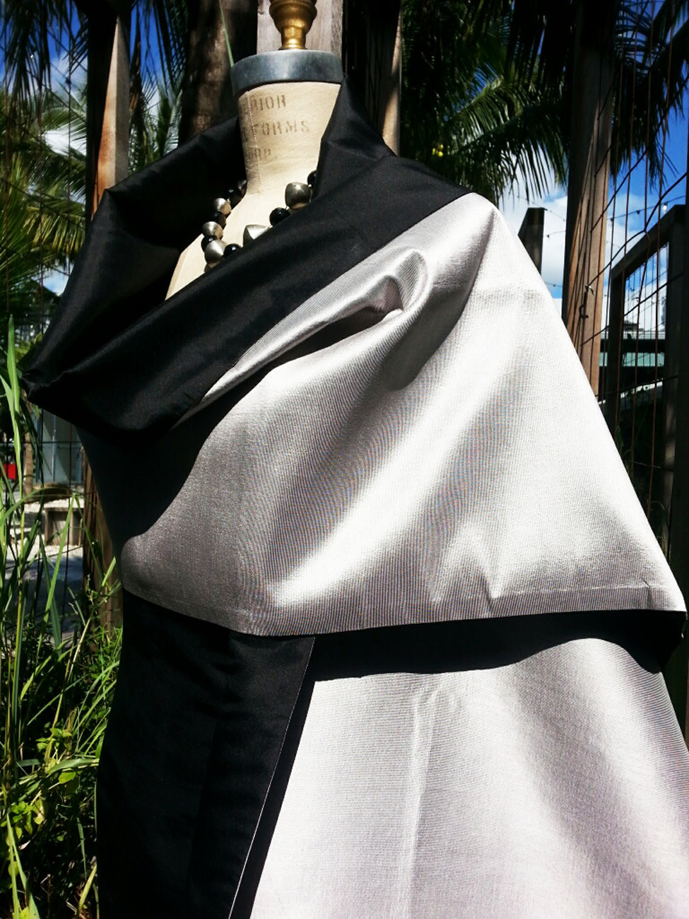 Double Sided Evening Shawl Black Silver
