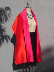 Double Sided Evening Shawl Fuchsia Hot Orange