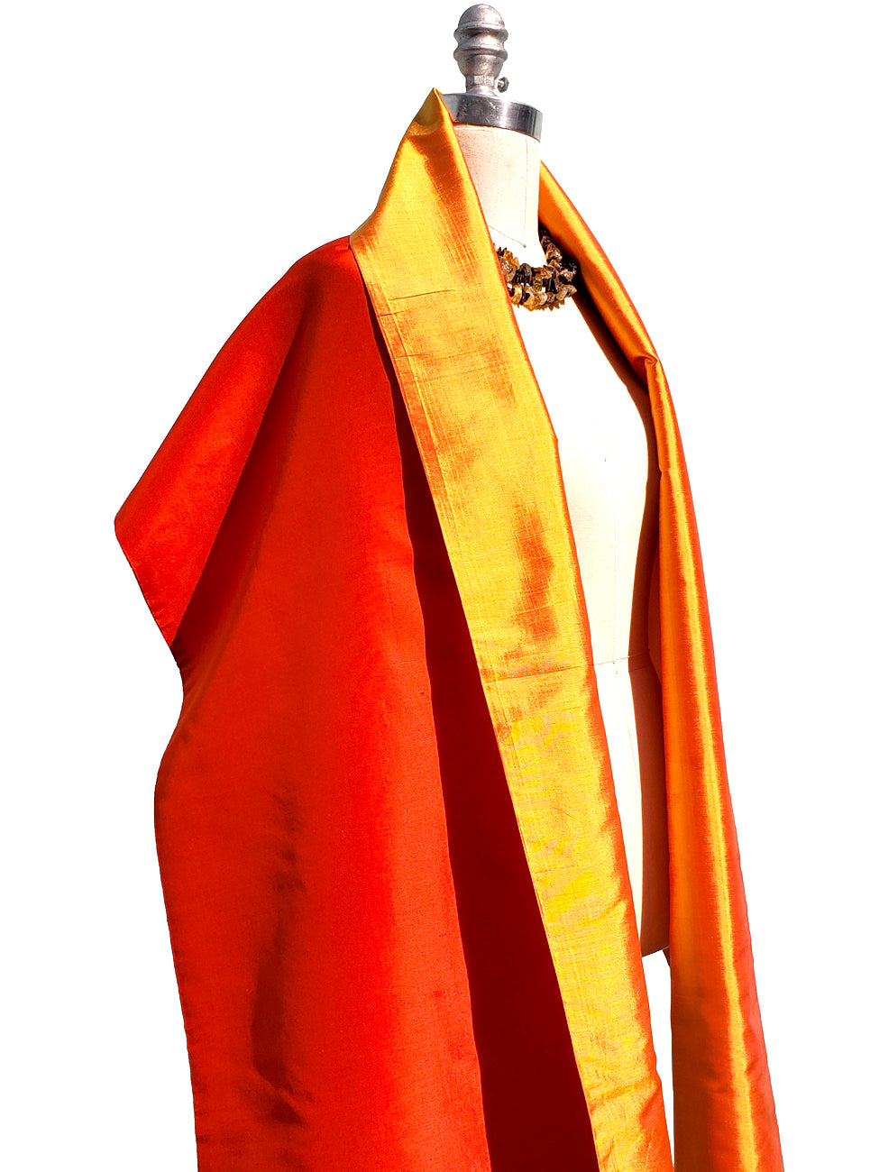 Double Sided Evening Shawl Hot Orange Tangerine