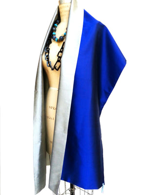 Double Sided Evening Shawl oyal Blue Silver