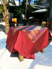 Silk Ikat Table Topper Cranberry Black