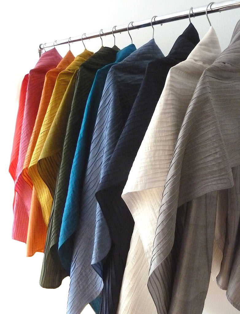 Silk Pintuck Pleated Shawl Assorted