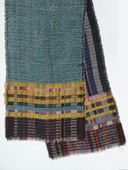 Scarf Lambswool Cotton Mohair Colorblock Teal Multi