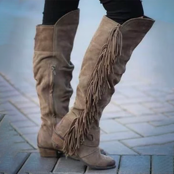 Fringe Boots Suede Calf Boots Tassel Low Chunky Heel Vintage Soft Leather Buttoned Shoes