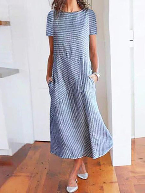 Women Summer Dresses Shift Daily Paneled Striped Dresses