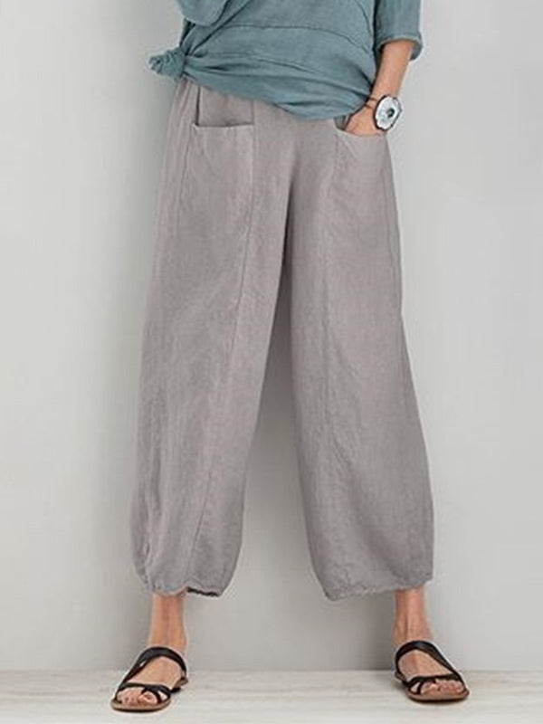 Women Summer Casual Pockets Capri Pants