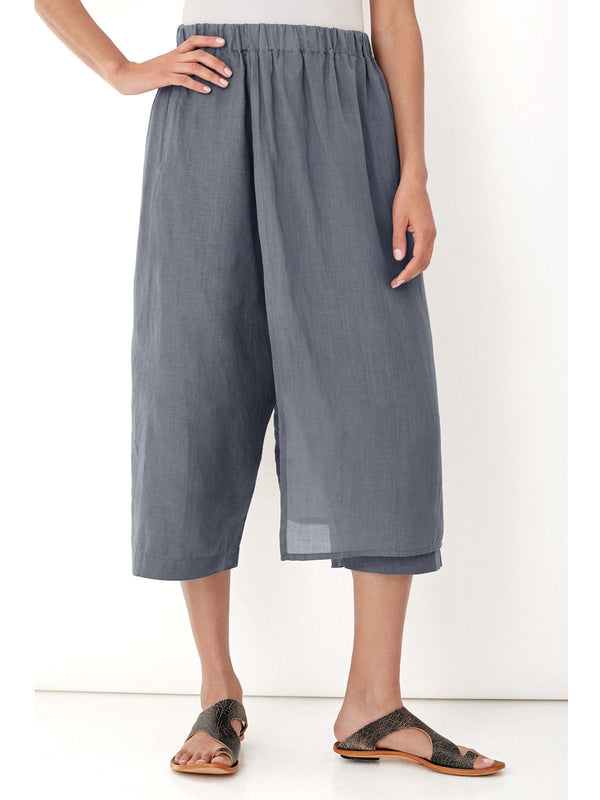 Relaxed Fit Wide Elastic Waistband Side Welt Pockets Pants