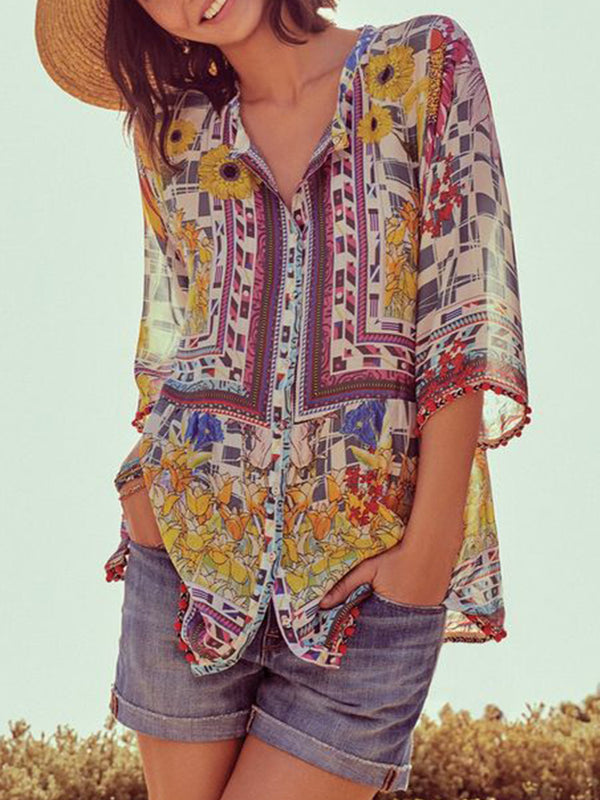 3/4 Sleeve V Neck Patchwork Shirts & Tops