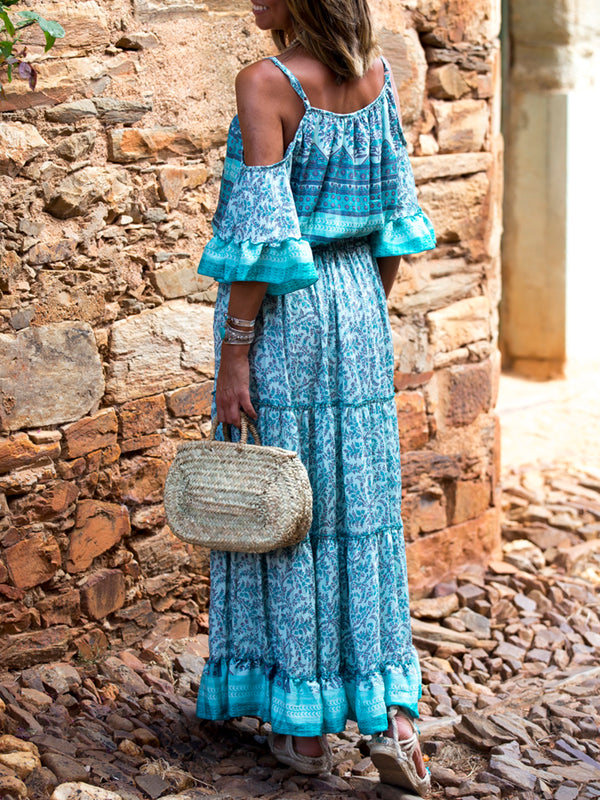 Light Blue Short Sleeve Flounce Off Shoulder Maxi Dresses