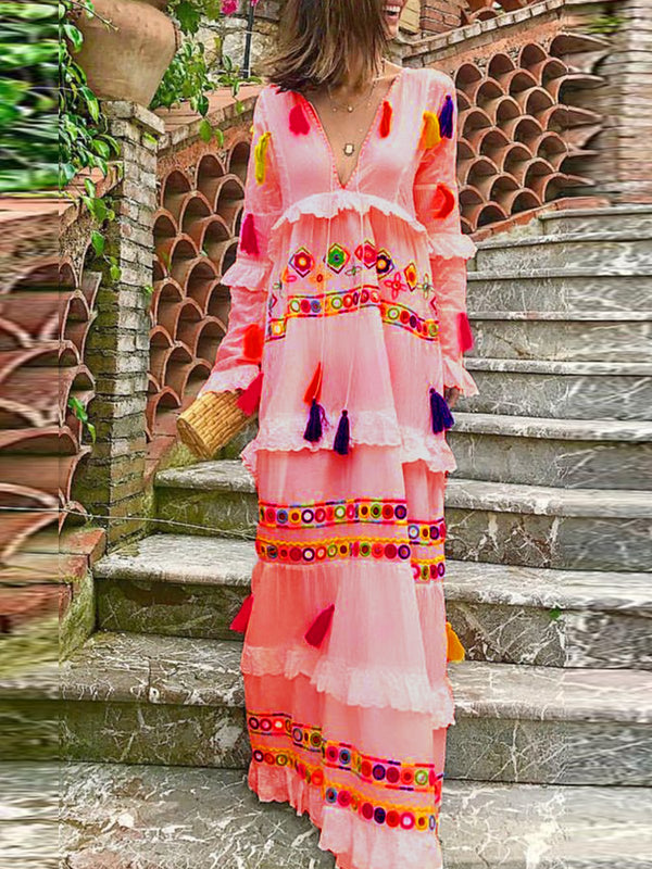 Color-Block Floral Holiday Maxi Dress