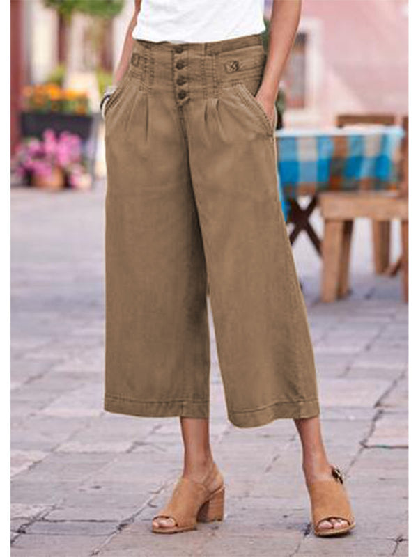 Khaki Buttoned Cotton Pants