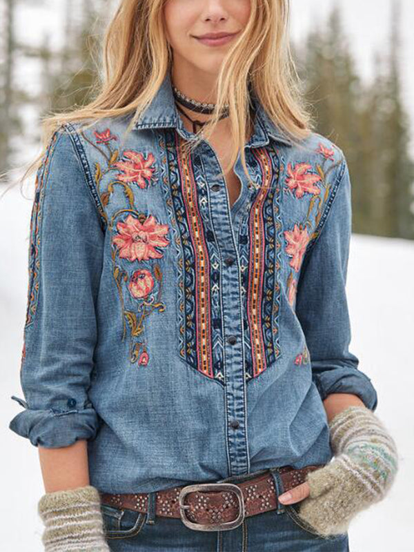 Floral Shawl Collar Casual Long Sleeve Shirts & Tops