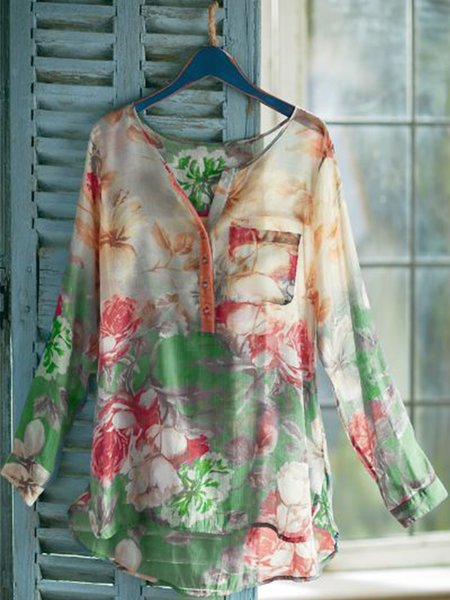 Casual Printed V Neck Floral Blouse