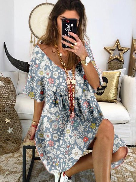 Floral-Printed Mini Holiday Dress