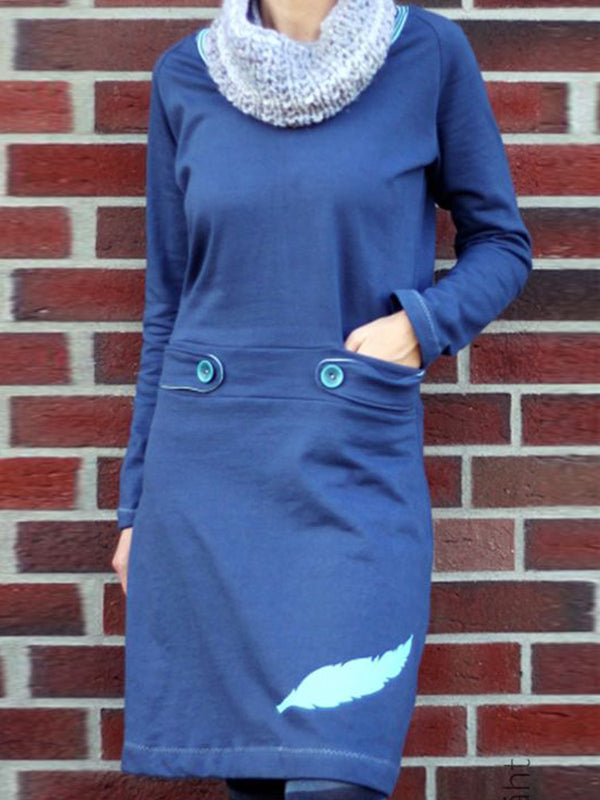 Blue Casual Long Sleeve Dresses