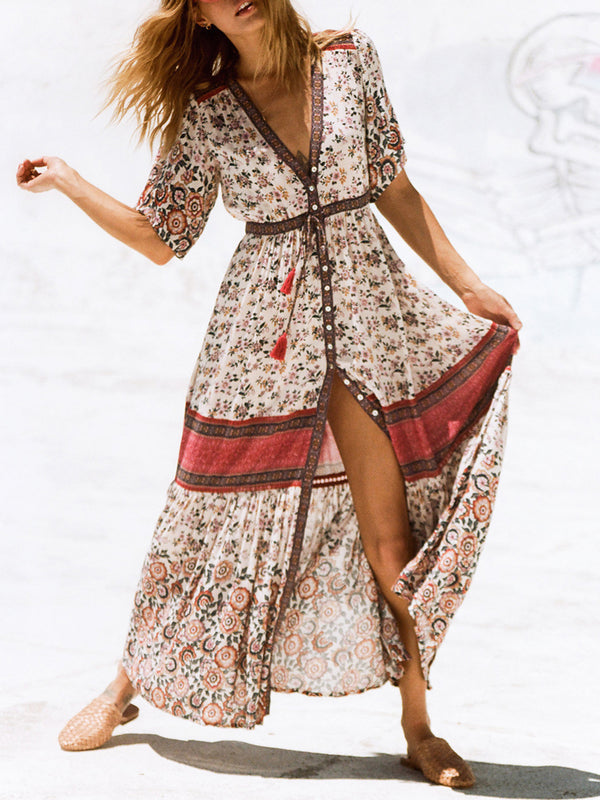 V Neck Floral Print Boho Swing Stripes Dresses