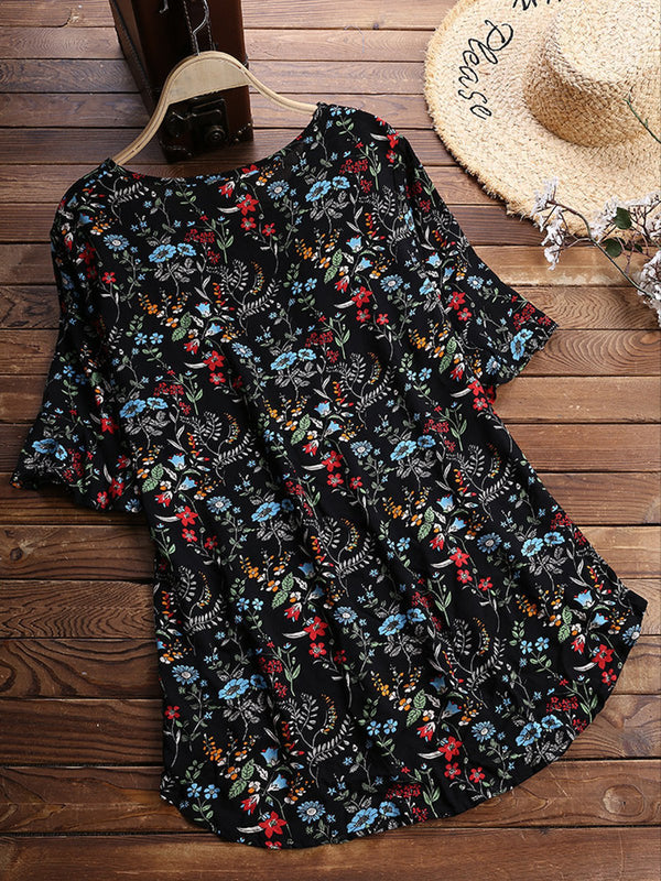 Black Plus Size Short Sleeve Printed Floral Vintage Blouses