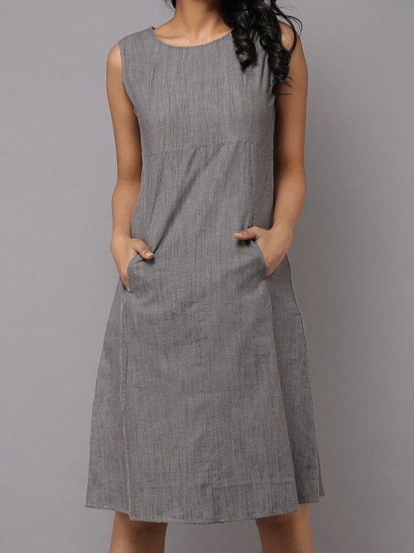 Crew Neck Women Summer Dresses Daily Linen Dresses