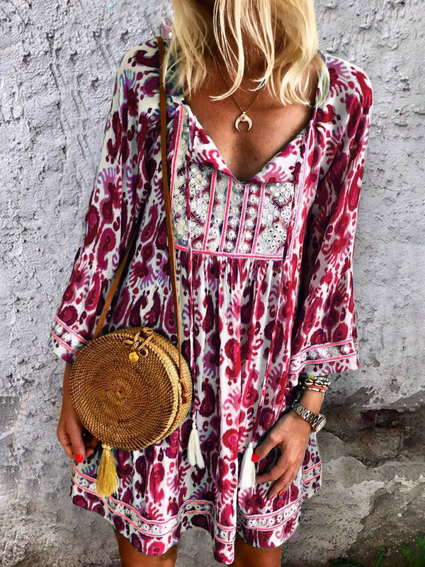 V Neck Women Dresses Daytime Boho Cotton Dresses