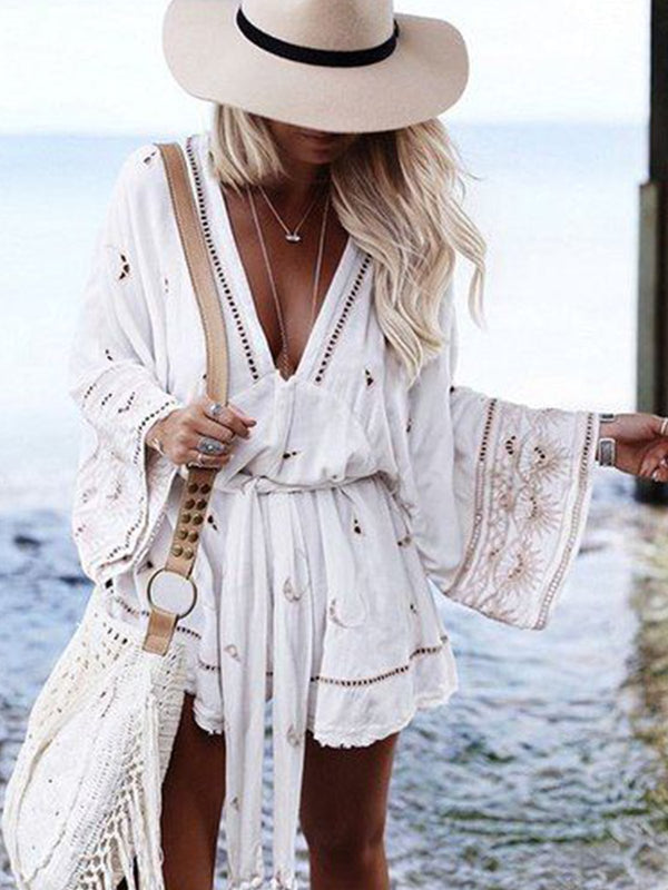 Beach Casual V Neck Bell Sleeve Mini Dresses