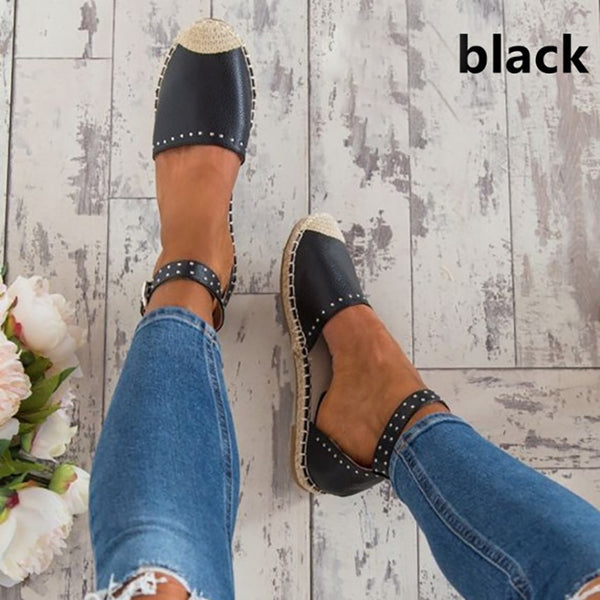 Black Closed Toe Flat Sandals Espadrilles Leather Rivet Shoes Online Casual Women Summer Fashion 2019