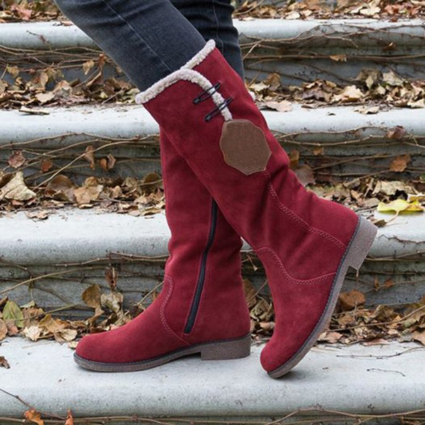 Low Heel Snow Boots Artificial Suede Zipper Winter Boots