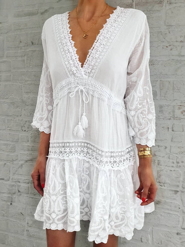 Women Caftan V-Neck 3/4 Sleeves Paneled Summer Dresses