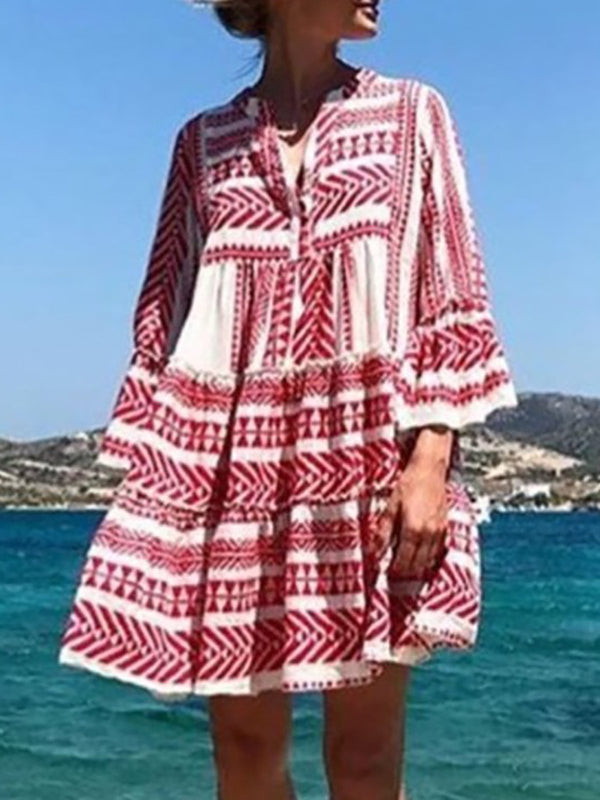 Bell Sleeve Cotton Casual Tribal Vacation Dresses