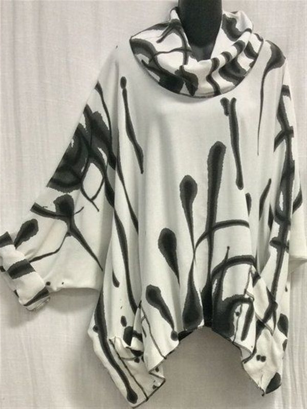 Autumn Casual Art Printed Cotton Turtleneck Long Sleeve Top