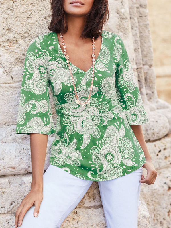 Holiday Floral Printed V-neck 3/4 Sleeve Blouse