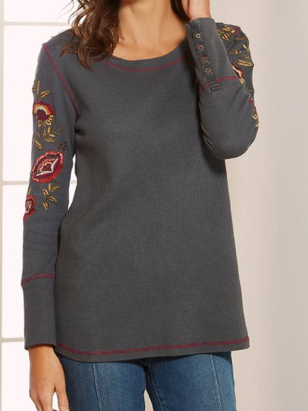 Long Sleeve Round Neck Casual Cotton-Blend Shirts & Tops