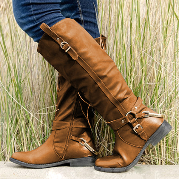 Womens Button Daily  Knee-High Winter Boots
