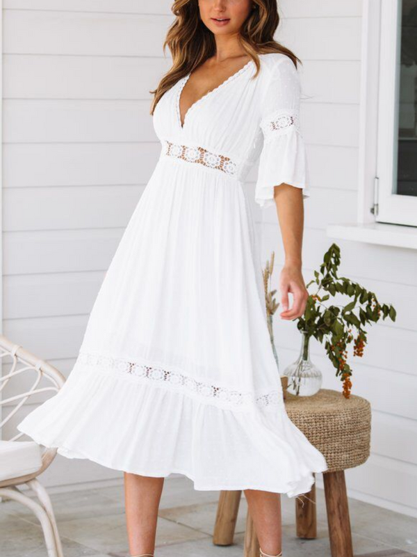 White Vintage Deep V-Neck Plain Paneled Casual Dresses