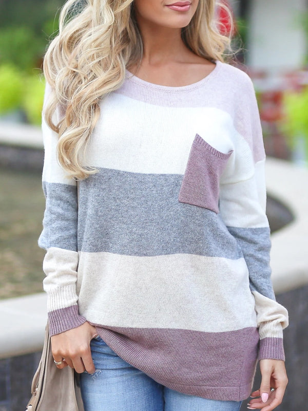 White Casual Knitted Striped Tops