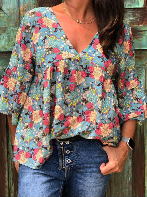 Plus Size Casual V Neck 3/4 Sleeve Floral Printed Blouse