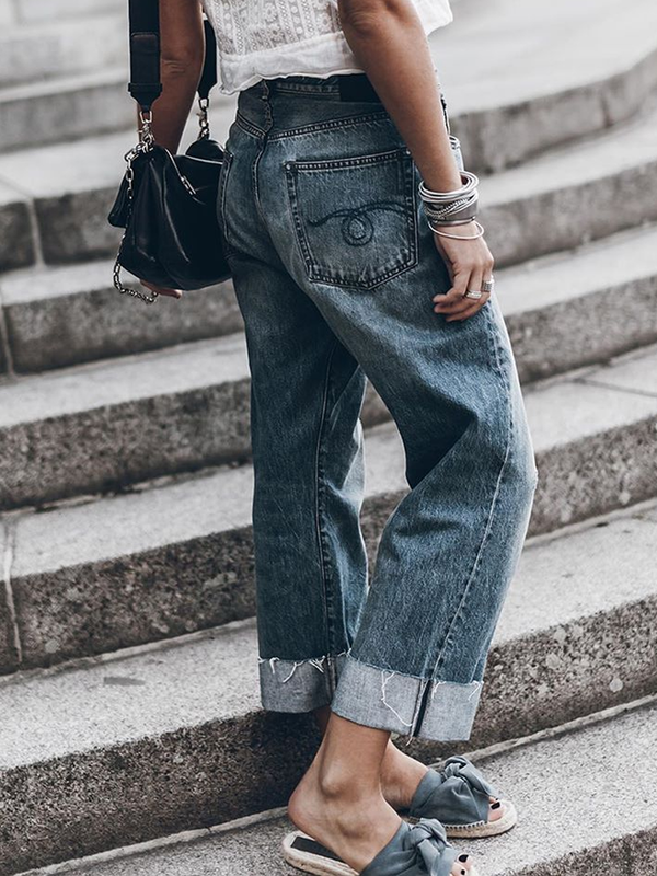 Blue Plain Outdoor Denim Asymmetric Pants