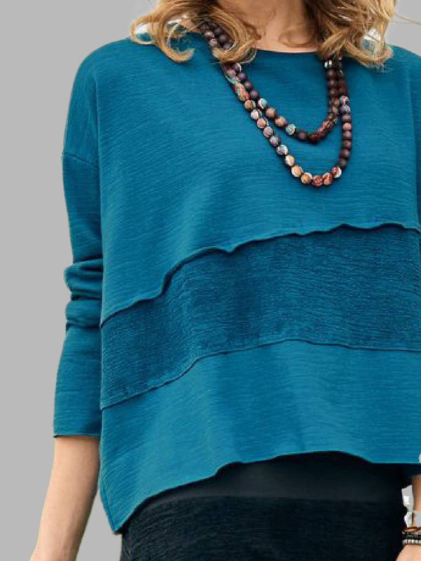 Blue Cotton-Blend Long Sleeve Round Neck Shirts & Tops