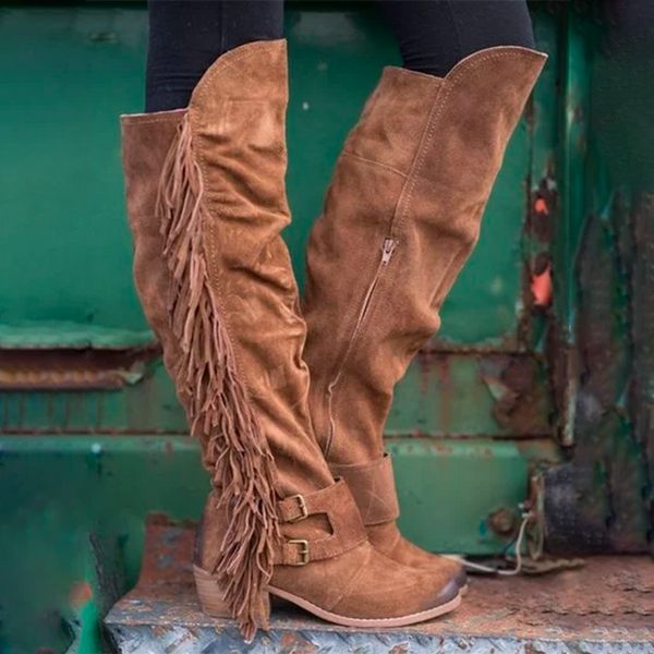 Tan Fringe Boots Suede Calf Boots Tassel Low Chunky Heel Vintage Soft Leather Buttoned Shoes