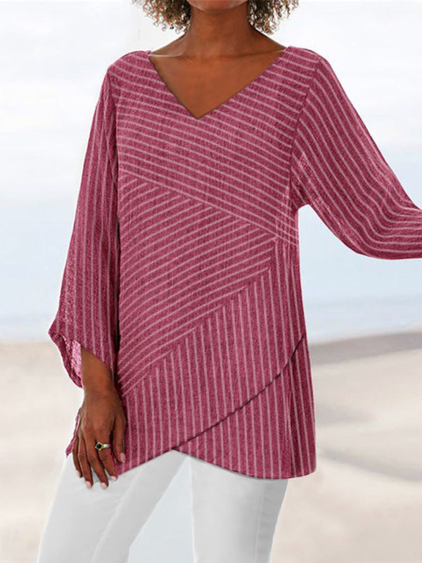 Casual V Neck Slit Long Sleeve Shirts & Tops