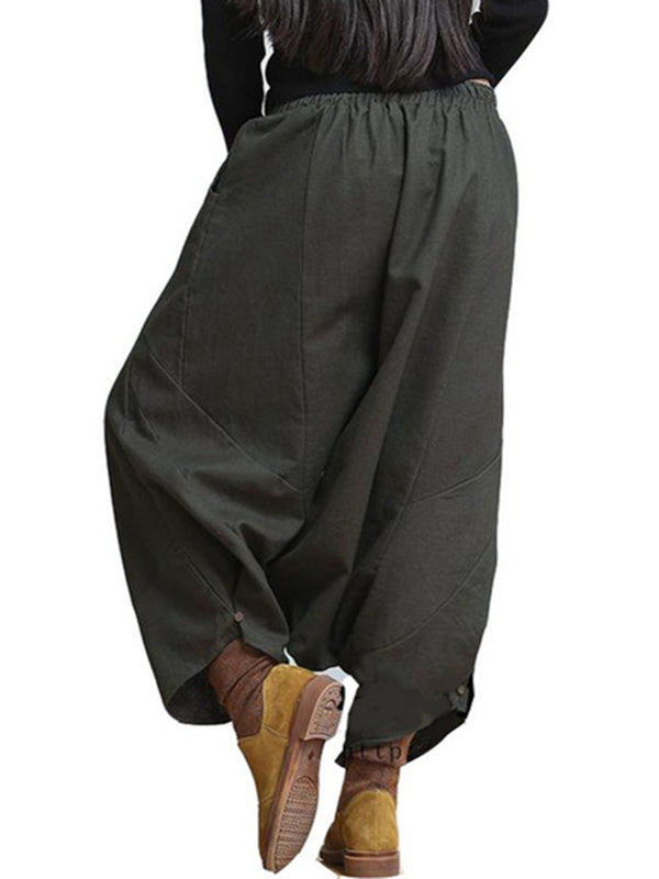 Black H-line Casual Pockets Harem Plus Size Pants