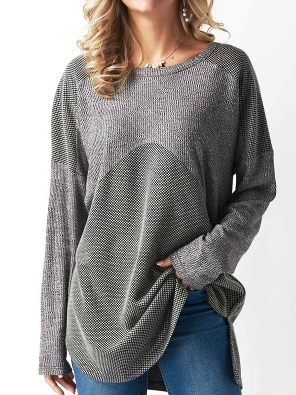Gray Color-Block Round Neck Cotton Casual  Tops