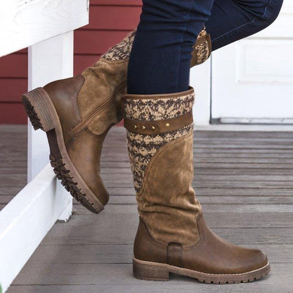 Large Size Ladies Boots Zipper Knitted Fabric Casual Mid Calf Boots