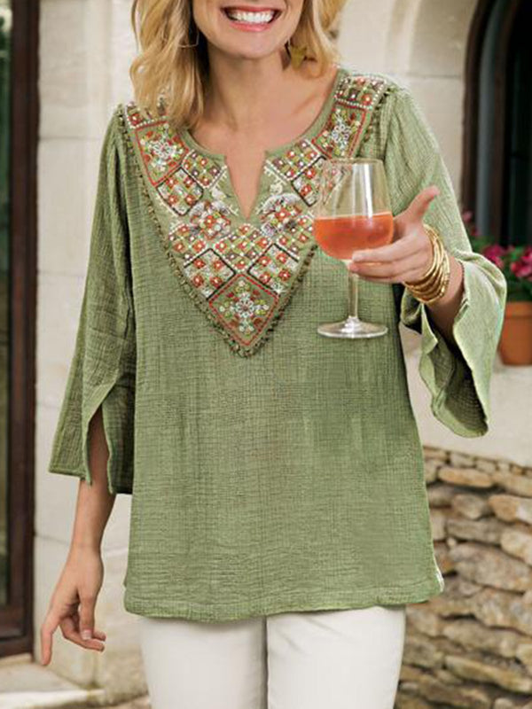 Floral-Embroidered Casual 3/4 Sleeve Shirt